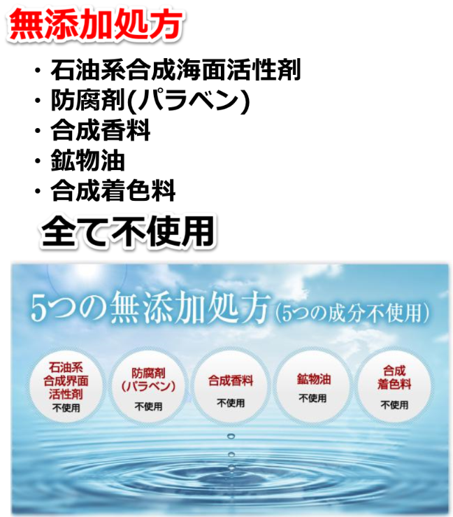 無添加処方 石油系合成海面活性剤、防腐剤(パラベン)、合成香料、鉱物湯、合成着色料、全て不使用